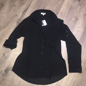 Nwt Black polyester button down top